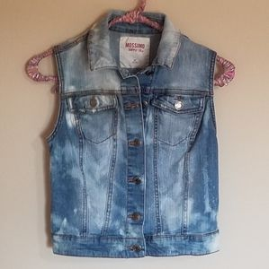 Upcycled Bleached Jean Vest. Size S